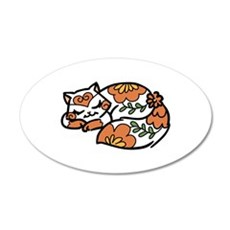 Floral Calico Cat Wall Decal