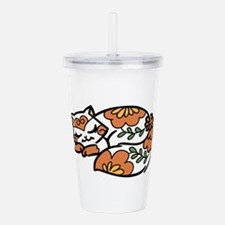 Floral Calico Cat Acrylic Double-wall Tumbler