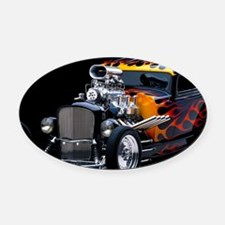 Hot Rod Oval Car Magnet