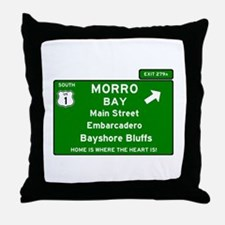 HIGHWAY 1 SIGN - CALIFORNIA - MORRO B Throw Pillow