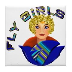 Woman Aviator Tile Coaster