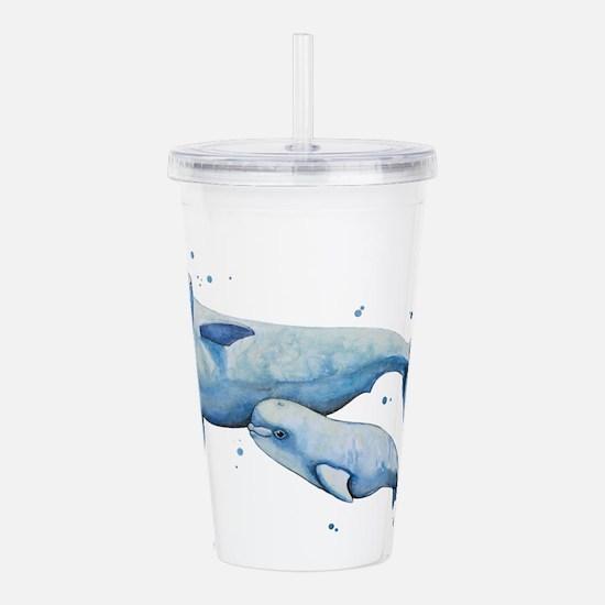 Beluga Whale and Baby Acrylic Double-wall Tumbler