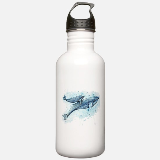 Blue Whale and Baby Sports Water Bottle