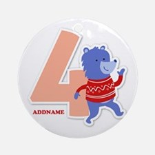 4th Birthday Personalized Name Round Ornament
