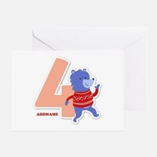 4th Birthday Personalized Name Greeting Card