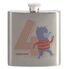 4th Birthday Personalized Name Flask