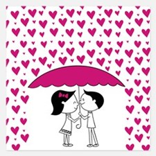 Romantic Raining Hearts Cou 5.25 x 5.25 Flat Cards