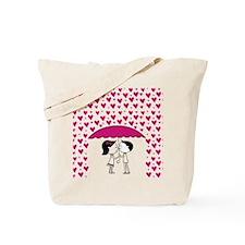 Romantic Raining Hearts Couple Tote Bag