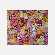 AUSTRALIAN ART CIRCLES AND LINES Throw Blanket