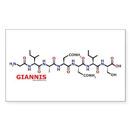 Giannis name molecule Rectangle Sticker