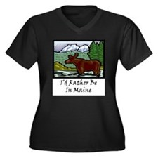 Unique States Women's Plus Size V-Neck Dark T-Shirt