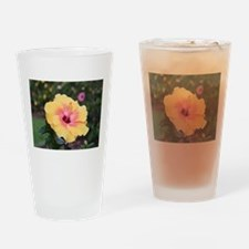 Pink yellow hibiscus flower Drinking Glass
