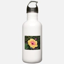 Pink yellow hibiscus f Water Bottle