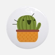 Happy Cactus Round Ornament