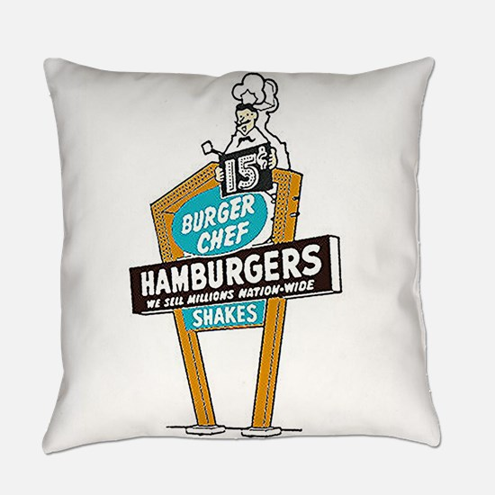 Vintage Burger Chef Sign Everyday Pillow