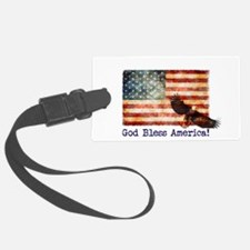 American Flag God Bless America Luggage Tag