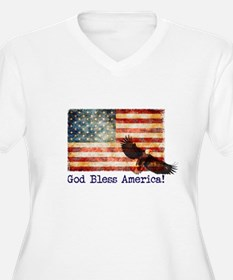 American Flag God Bless America Plus Size T-Shirt