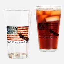 American Flag God Bless America Eag Drinking Glass