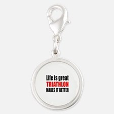 Life is great Triathlon makes Silver Round Charm