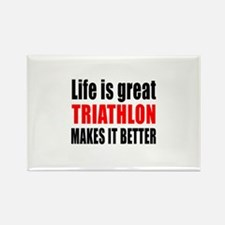 Life is great Triathlon Rectangle Magnet (10 pack)