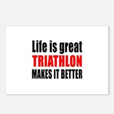 Life is great Triathlon m Postcards (Package of 8)