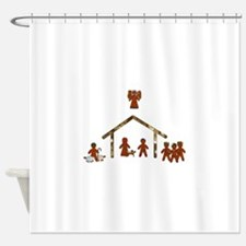 gingerbread nativity Shower Curtain