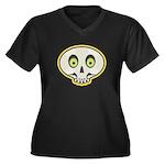 Skull Halloween Women's Plus Size V-Neck Dark T-Sh