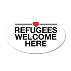 Refugees Welcome Here 35x21 Oval Wall Decal