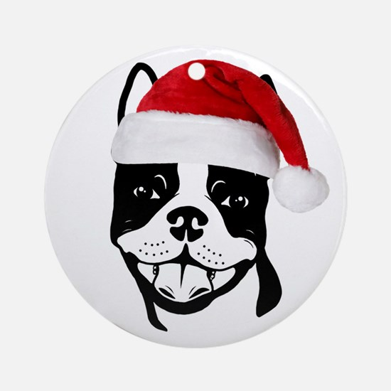 "Boston Terrier ""Santa"" Round Ornament"