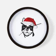 """Boston Terrier """"Santa"""" Wall Clock"""