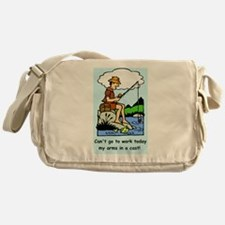 Funny arms in a cast Messenger Bag