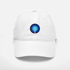 Rocket ship flies past the Blue Planet Baseball Baseball Cap