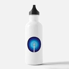 Rocket ship flies past Water Bottle