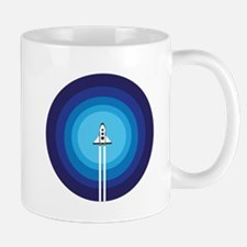 Rocket ship flies past the Blue Planet Mugs