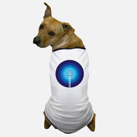 Rocket ship flies past the Blue Planet Dog T-Shirt
