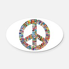 Peace to All Nations Oval Car Magnet