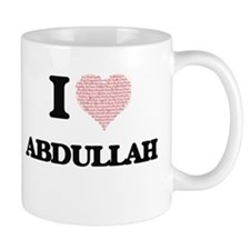 I Love Abdullah (Heart Made from Love words) Mugs