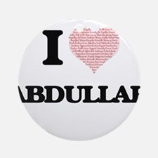 I Love Abdullah (Heart Made from L Round Ornament