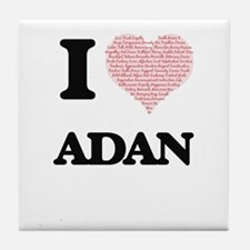 I Love Adan (Heart Made from Love wor Tile Coaster