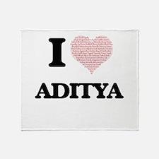 I Love Aditya (Heart Made from Love Throw Blanket
