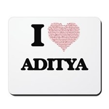 I Love Aditya (Heart Made from Love word Mousepad