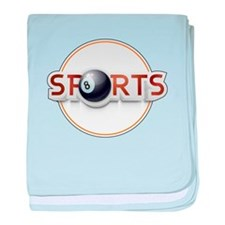 Circular SPORTS Logo with EIGHT BALL baby blanket