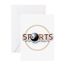 Circular SPORTS Logo with EIGHT BAL Greeting Cards
