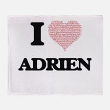 I Love Adrien (Heart Made from Love Throw Blanket