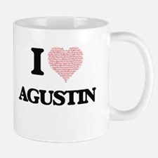 I Love Agustin (Heart Made from Love words) Mugs