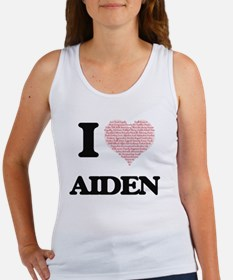 I Love Aiden (Heart Made from Love words) Tank Top