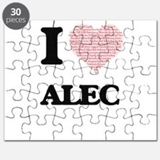 I Love Alec (Heart Made from Love words) Puzzle
