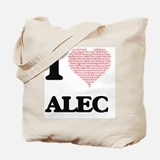 I Love Alec (Heart Made from Love words) Tote Bag