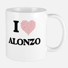 I Love Alonzo (Heart Made from Love words) Mugs