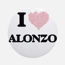 I Love Alonzo (Heart Made from Love Round Ornament